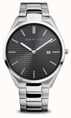 Bering Ultra sottile   uomo   argento lucido / spazzolato   quadrante nero 17240-702