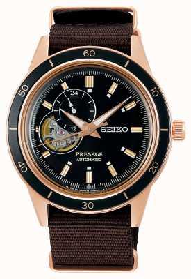 Seiko Cinturino in nylon marrone stile Presage anni '60 SSA426J1