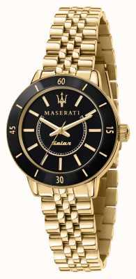 Maserati Il successore dell'orologio solare da donna nero e oro R8853145503