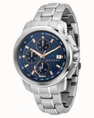Maserati Orologio da uomo con quadrante blu Successo solare R8873645004