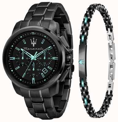 Maserati Set regalo da uomo Aqua Edition con orologio e bracciale R8873644004
