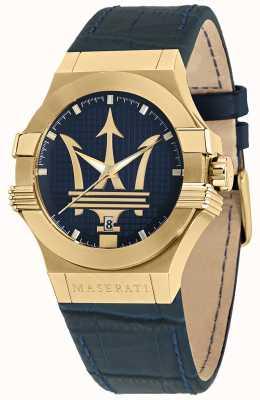 Maserati Orologio da uomo Potenza cinturino in pelle blu R8851108035