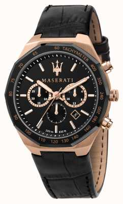 Maserati Stile cronografo da uomo cinturino in pelle nera R8871642001