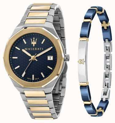 Maserati Stile 3h set regalo uomo orologio e bracciale R8853142008