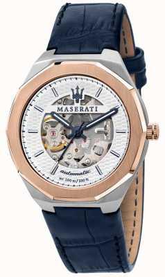 Maserati Stile uomo automatico | cinturino in pelle blu | quadrante scheletrato argento R8821142001