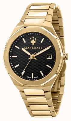 Maserati Orologio da uomo stile 3h data placcato oro R8853142004