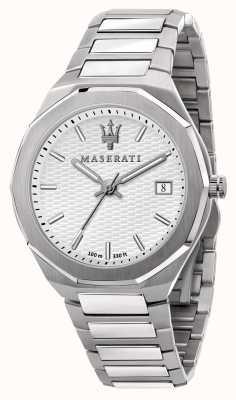 Maserati Orologio da uomo stile 3h data quadrante bianco R8853142005