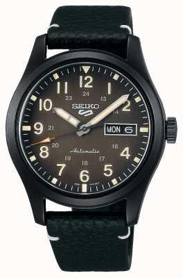 Seiko 5 orologio da campo sportivo con cinturino in pelle placcato nero SRPG41K1