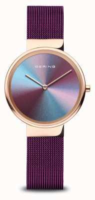 Bering Donna | oro rosa lucido | braccialetto a maglie viola 10X31-ANNIVERSARY3