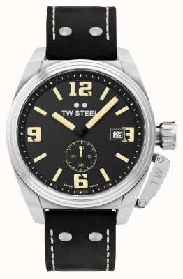 TW Steel Mens mensa cinturino in pelle nera can TW1001