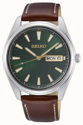 Seiko Orologio con cinturino in pelle marrone con quadrante verde SUR449P1
