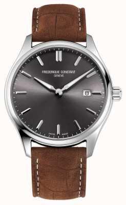 Frederique Constant Quarzo classico | cinturino in pelle marrone | quadrante grigio FC-220DGS5B6