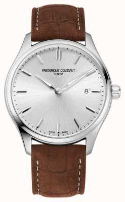Frederique Constant Quarzo classici | cinturino in pelle marrone | quadrante argentato FC-220SS5B6