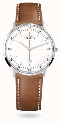 Michel Herbelin Quadrante bianco cinturino in pelle marrone quarzo City 19515/12GON