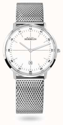 Michel Herbelin Bracciale in maglia milanese City acciaio inossidabile quadrante bianco 19515/12B