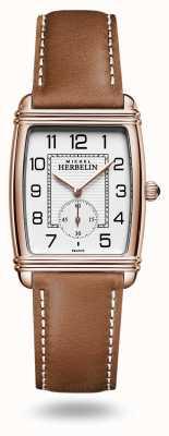 Michel Herbelin Art déco | quadrante argento | cinturino in pelle marrone 10638/PR22GO