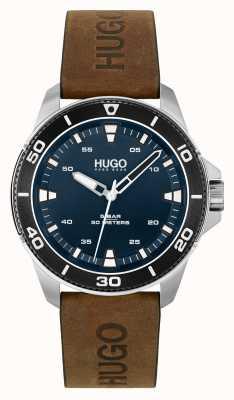 HUGO # streetdiver casual | quadrante blu | cinturino in pelle marrone 1530220