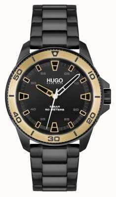 HUGO # streetdiver casual | quadrante nero | bracciale in acciaio pvd nero 1530225