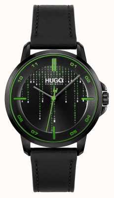 HUGO #focus matrice casual | quadrante nero | cinturino in pelle nera 1530205