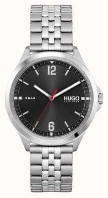 HUGO #vestito d'affari | quadrante nero | bracciale in acciaio inossidabile 1530216