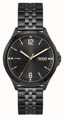 HUGO #vestito d'affari | quadrante nero | bracciale in acciaio pvd nero 1530218