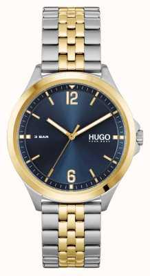HUGO #vestito d'affari | quadrante blu | bracciale in acciaio bicolore 1530219
