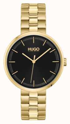 HUGO #schiaccia | quadrante nero | bracciale in acciaio pvd oro 1540102