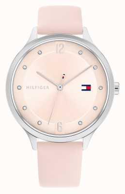 Tommy Hilfiger Grace cinturino in pelle rosa quadrante argentato 1782429