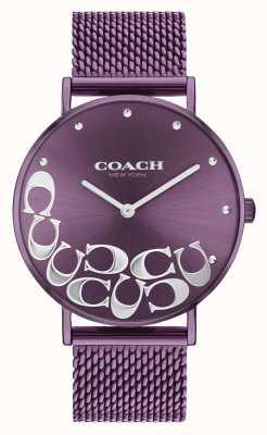 Coach Orologio da donna con bracciale in maglia viola Perry 14503823