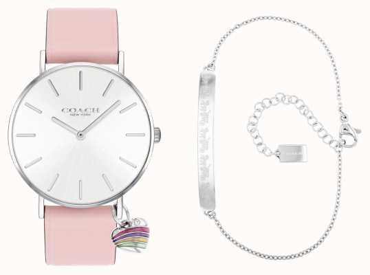 Coach Set regalo Perry orologio con cinturino in pelle rosa 14000074