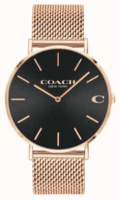 Coach Charles da uomo con quadrante a raggi di sole nero maglia oro rosa 14602552