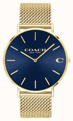 Coach Charles uomo blu sunray quadrante oro maglia 14602551