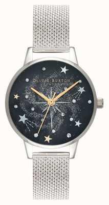 Olivia Burton Cinturino in maglia d'argento celeste starburst OB16GD85