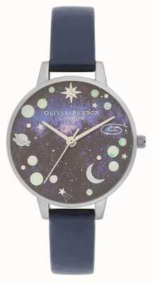Olivia Burton Cinturino in pelle blu pianeta celeste OB16GD82