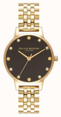 Olivia Burton Orologio midi con cinturino in oro con quadrante a raggi di sole nero OB16SE17