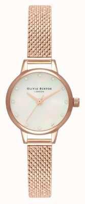 Olivia Burton Mini quadrante in madreperla bianca, indici scintillanti e maglia bouclé in oro rosa OB16MN05
