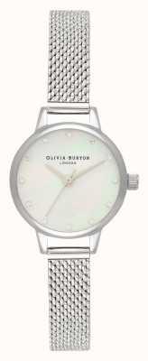 Olivia Burton Mini quadrante in madreperla bianca, indici scintillanti e orologio in maglia bouclé argento OB16MN04
