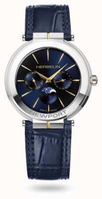 Michel Herbelin Orologio Newport slim con cinturino in pelle con fasi lunari 12722/T15BL
