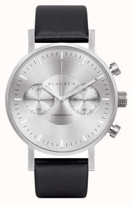 Klasse14 Cronografo quadrante argento cinturino in pelle nera VO15CH001M