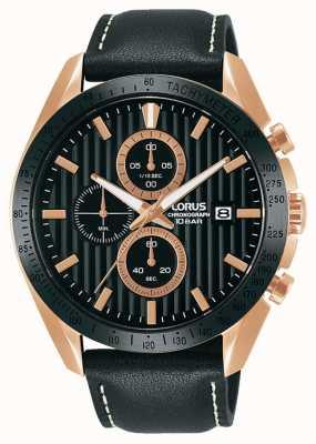 Lorus Cinturino sportivo cronografo al quarzo in pelle nera RM308HX9