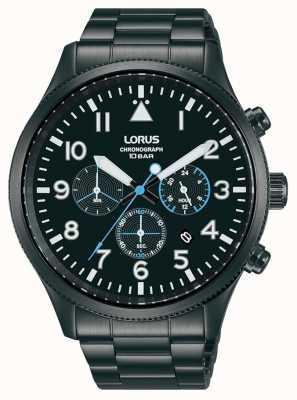 Lorus Cronografo al quarzo acciaio inossidabile placcato nero RT361JX9