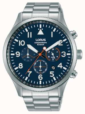 Lorus Cronografo al quarzo quadrante blu acciaio inossidabile RT365JX9