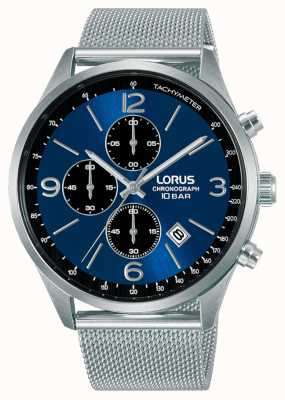 Lorus Cronografo quadrante blu bracciale in acciaio a maglie RM315HX9