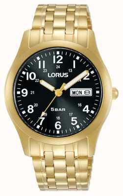Lorus Classico orologio al quarzo 38 mm quadrante nero oro giallo RXN76DX9