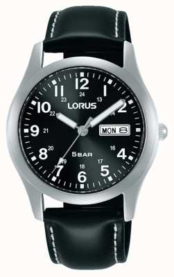 Lorus Orologio classico al quarzo da 38 mm quadrante nero cinturino in pelle RXN79DX9