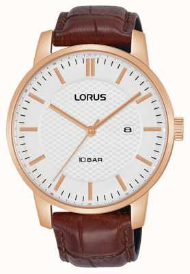Lorus 42 mm quarzo quadrante bianco cinturino in pelle marrone RH978NX9