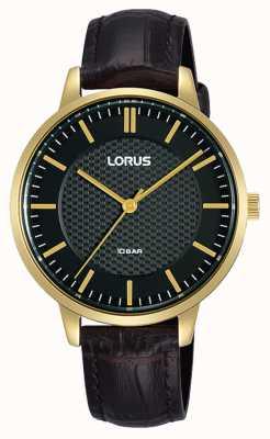 Lorus Cinturino in pelle marrone quadrante nero quarzo donna RG276TX9