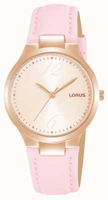 Lorus Cinturino in pelle rosa con quadrante sunray in oro rosa da donna RG210UX9
