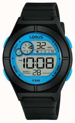 Lorus Orologio digitale da donna cinturino in silicone nero dettagli blu R2361NX9