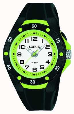 Lorus Cinturino in silicone nero per bambini lunetta interna verde R2375NX9